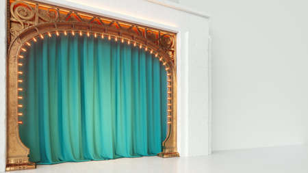 Bright white empty cabaret or comedy club stage with green curtain and art nuovo arch. 3d render Standard-Bild