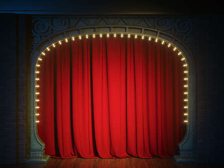 Dark empty cabaret or comedy club stage with red curtain and art nuovo arch. 3d render 版權商用圖片