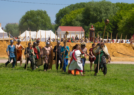 celts: Barbarians, the Germans and the Celts. MOSCOW, RUSSIA - JUNE 7: Times and Epochs 2015 festival Ancient Rome, Kolomenskoye