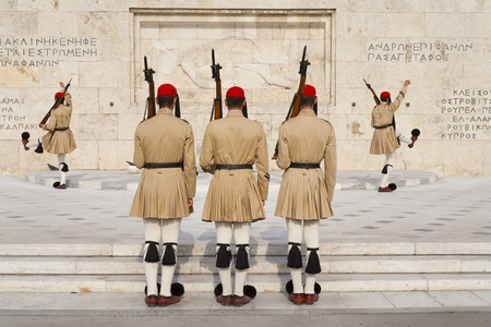 Ceremonial changing guards in Athens, Greece