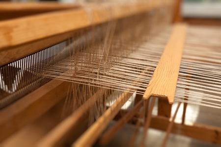 wool rugs: Part of loom white thread homemade