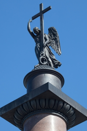 An angel figure on top of the Alexander column in St Petersburg  photo