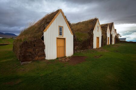 Traditional turf houses in a row in Glaumbaer  Iceland Stock Photo - 18953153