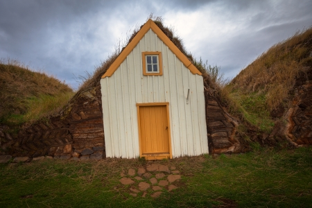 Traditional turf houses in a row in Glaumbaer  Iceland photo
