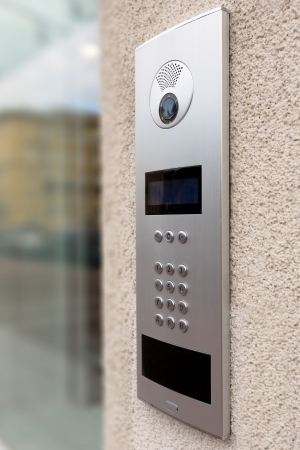 intercom: Close-up of building intercom
