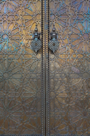 Main golden gates of royal palace in marrakesh, morocco