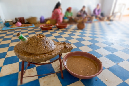 cooperative: Women working in a cooperative for the manufacturing of argan fruits in Essaouira, Morocco