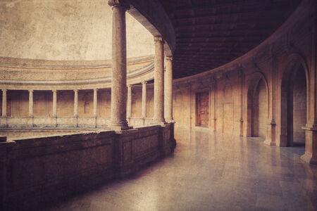 carlos: Courtyard of the Palacio de Carlos V in La Alhambra, Granada, Spain. Vintage photo