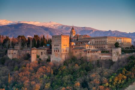 spain: Alhambra at sunset, Granada, Spain