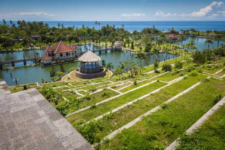 Panorama of Tirtagangga Taman Ujung water palace on Bali