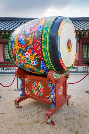 Korean traditional drum called buk, with Taegeuk symbol photo