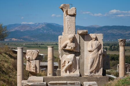 historical periods: Sculpture detail in Ephesus Efes from Roman time in Turkey.