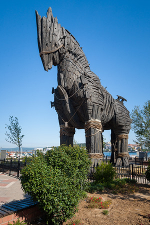 troya: Trojan Horse in Canakkale SquareTurkey Stock Photo