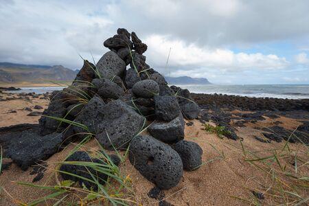 volcanic: Volcanic black stones in Budir. Iceland