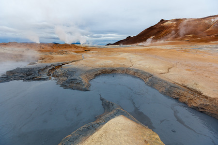 geothermal: Mudpot in the geothermal area Hverir Iceland
