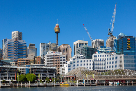 centrepoint tower: SYDNEY - MARCH 31: Darling Harbour adjacent to the city centre of Sydney is an area of entertainment facilities and a pedestrian walkway. March 31, 2016 in Sydney, Australia.