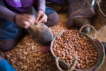 Woman working on argan oil factory in Morocco7