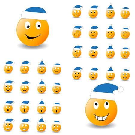 hubcaps: Large collection of smiles with different kinds of emotions. Emoticons in funny New Yers hubcaps. (2 part, blue)