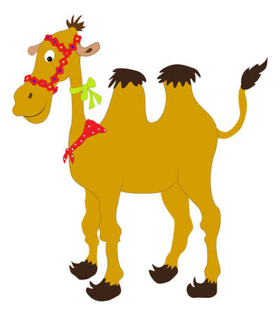 Caricatura de camellos con cintas de colores
