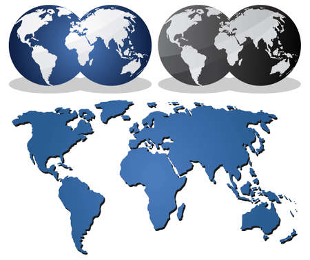 vector maps: Earth globes over continents. Illustration