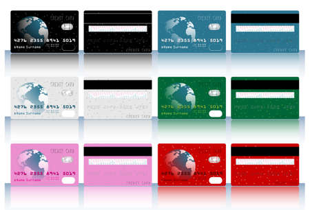 mastercard: Collection of different colored credit cards for banks.