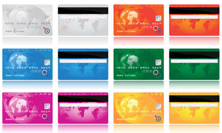 Collection of different colored credit cards for banks. To see similar please visit my gallery Vector