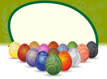 Wonderful ornamental eggs for Easter.  Vector