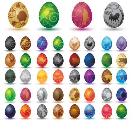 Wonderful ornamental eggs for Easter Vector