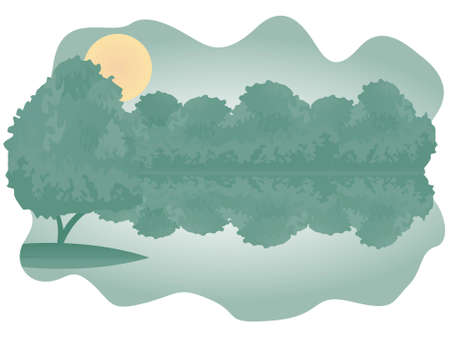 Wonderful illustration of forest lake with bushes on the bank and the single tree on the island. Vector