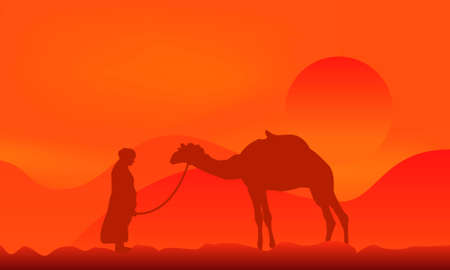 Silhouette of a camel over sunset in desert Vector