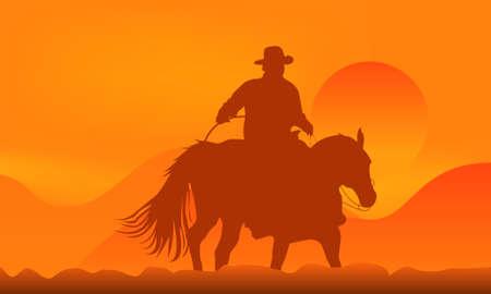 horse saddle: Illustrazione di un cowboy nel tramonto in montagna Vettoriali