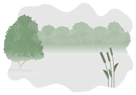 Wonderful illustration of forest lake with bushes on the bank and the single tree on the island. Stock Vector - 5054991