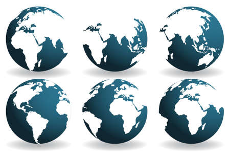 Earth globes over continents. Vector