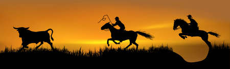 drover: Pursuit of 2 cowboys for a young bull Illustration