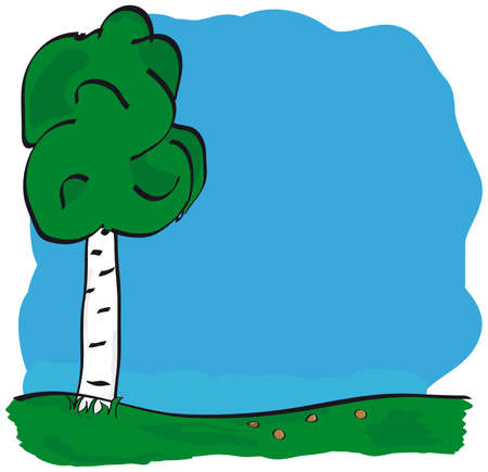 Vector image of tree over blue sky Stock Vector - 5346626