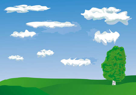 Vector image of tree over blue sky Stock Vector - 5346627
