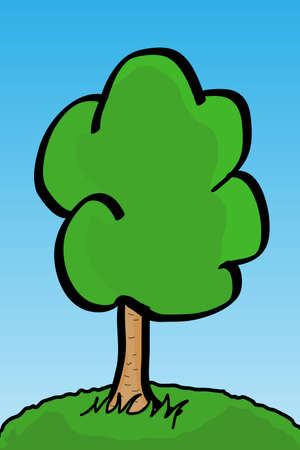 Vector image of tree over blue sky Stock Vector - 5346625