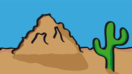 Vector illustration of desert with cactus Vector