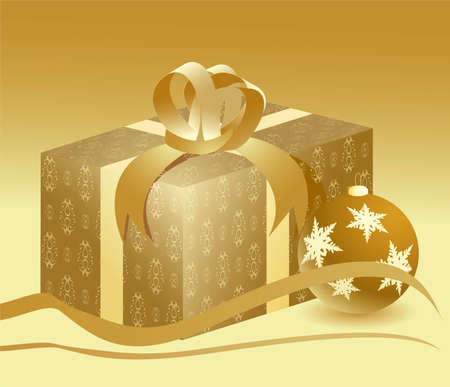illustration of a golden present with a small ball Vector
