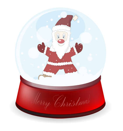 Detalised illustration of a globe with Santa Claus Vector