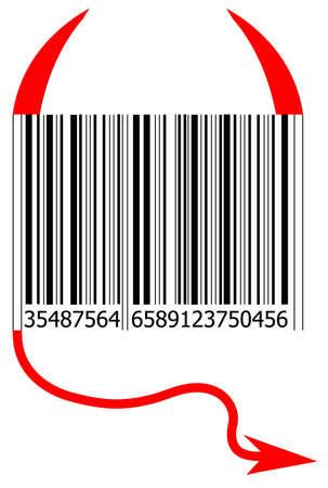 lucifer: Illustration of a code bar with evil symbols.
