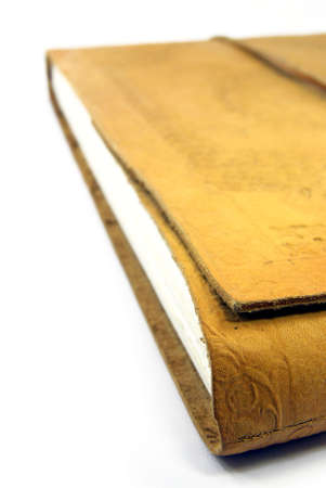 Detail view of a leather book. photo
