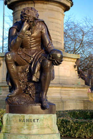 View of a statue of Hamlet in Stratford-upon-Avon