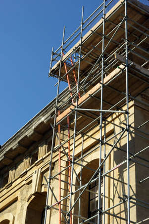 View of some scaffolding used to renovate an ancient building.