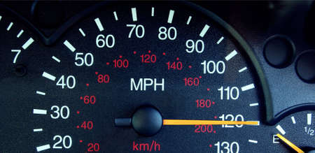 Photo of a speedometer  showing a speed of 120mph. photo