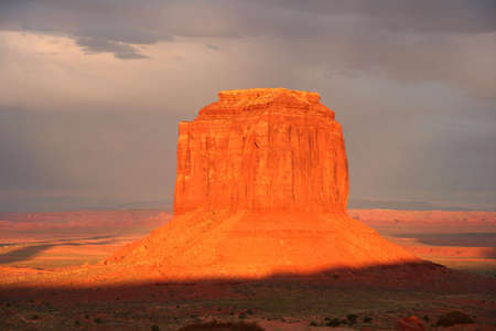 Nice view of Monument Valley at sunset. photo