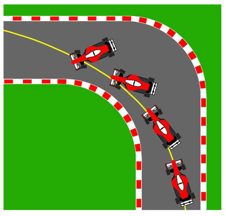 cornering: Illustration of the oversteering phenomenon.