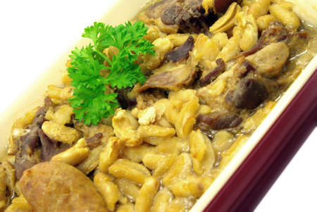 terroir: Detail view of a cassoulet meal in a typical dish.