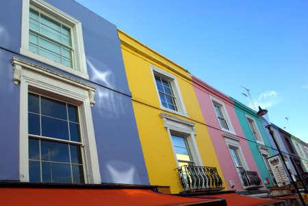 notting: Ver los colores de algunas casas en Notting Hill en Londres. Foto de archivo