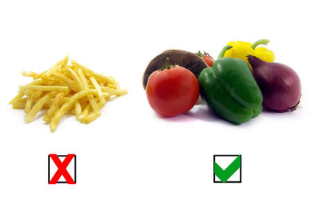 decisions: Illustration of a comparison between healthy food and unhealthy food. Stock Photo